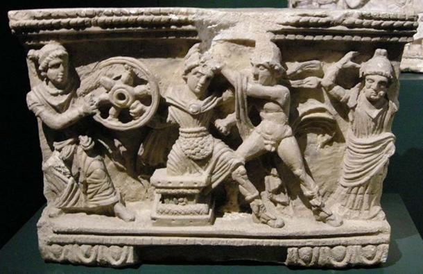 Death of Myrtilus depicted on a cinerary urn