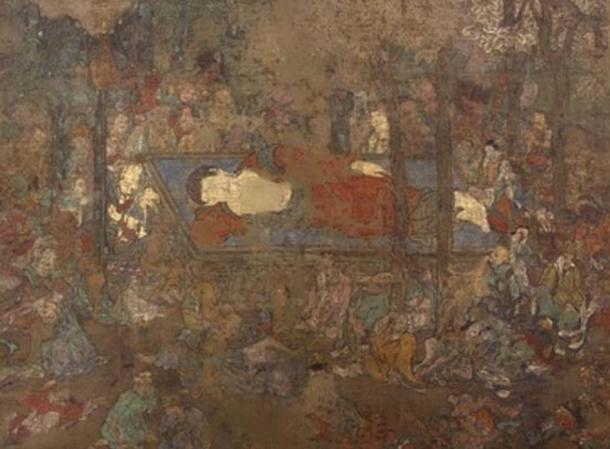 The Death of the Buddha, a hanging scroll painting at the British Museum. Credit: Trustees of the British Museum