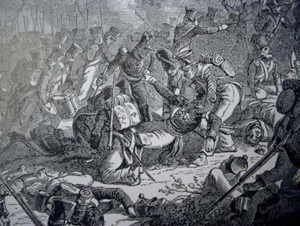 Death of the general Gudin at the battle of Valutino (1812). (Public Domain)