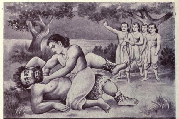 Death of the rakshasa Hidimba as illustrated in an edition of the Mahabharata epic. He was said to have been 8 cubits (4 meters) tall. Picture credit: public domain.)