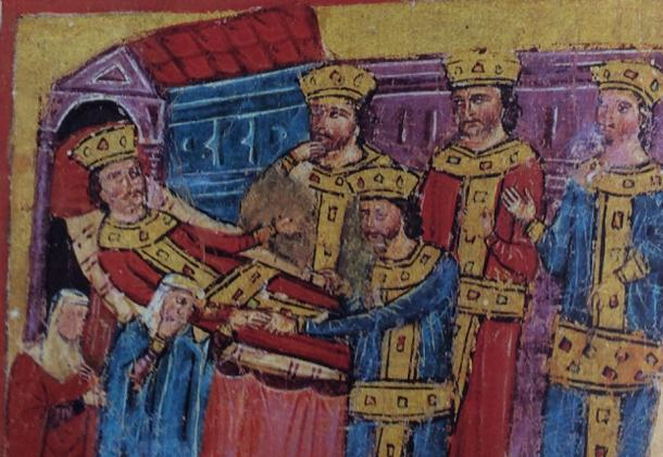 Deathbed of Alexander, illustration in Codex 51 (Alexander Romance) of the Hellenic Institute. The figure in the center is Perdiccas, receiving the ring from the speechless Alexander.