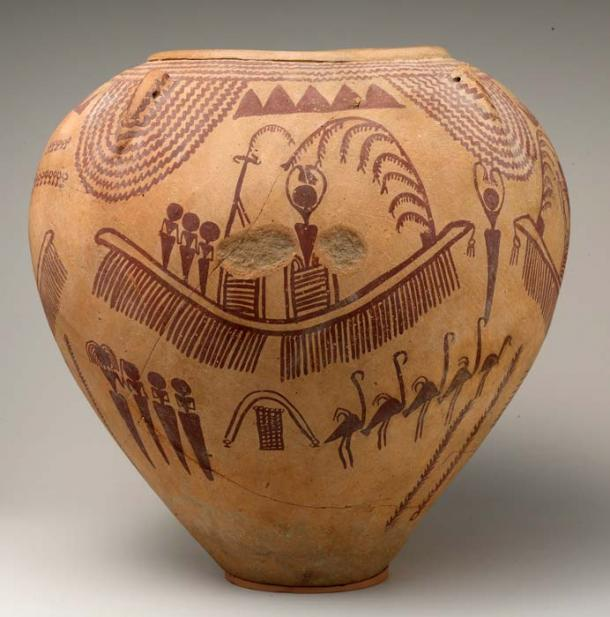 Decorated jar depicting ungulates and boats with human figures. The images on this vessel represent important social or religious events. In the areas surrounding the boat are mountains, birds that may represent flamingos, plants, and water. Predynastic, Late Naqada II, ca. 3500–3300 B.C. Metropolitan Museum of Art, New York. (Public Domain)