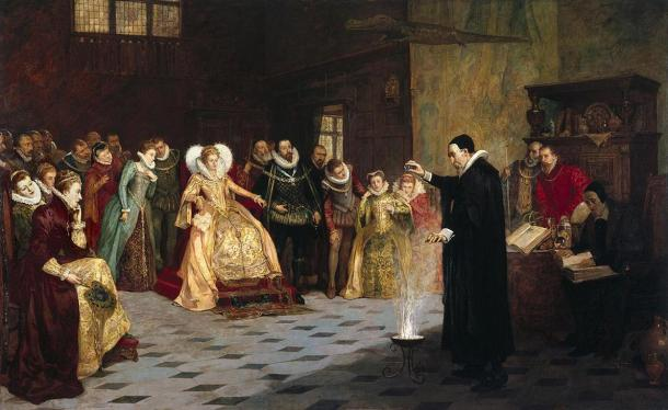John Dee performing an experiment before Queen Elizabeth I. Oil painting by Henry Gillard Glindoni. 1913