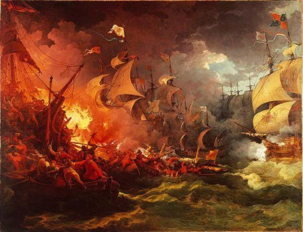 Defeat of the Spanish Armada, 8 August 1588 by Philip James de Loutherbourg.