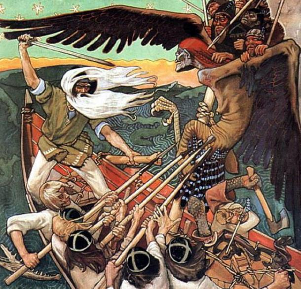 The Defense of the Sampo (1896) by Akseli Gallen-Kallela, showing Väinämöinen with a sword defending the Sampo from Louhi.