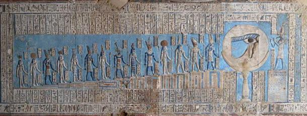 Deities each played a vital role in the lives and afterlives of Ancient Egyptians. Relief in Temple of Dendera, Egypt.