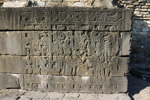 Delicately carved panel from the South Ballcourt, depicting a human sacrifice. The style of the carving is very peculiar and reminds of the Near East and Sumer. (Photo © Marco Vigato)