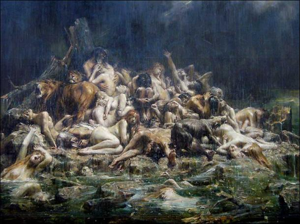 Deluge. Late 19th century painting by Leon Comerre.