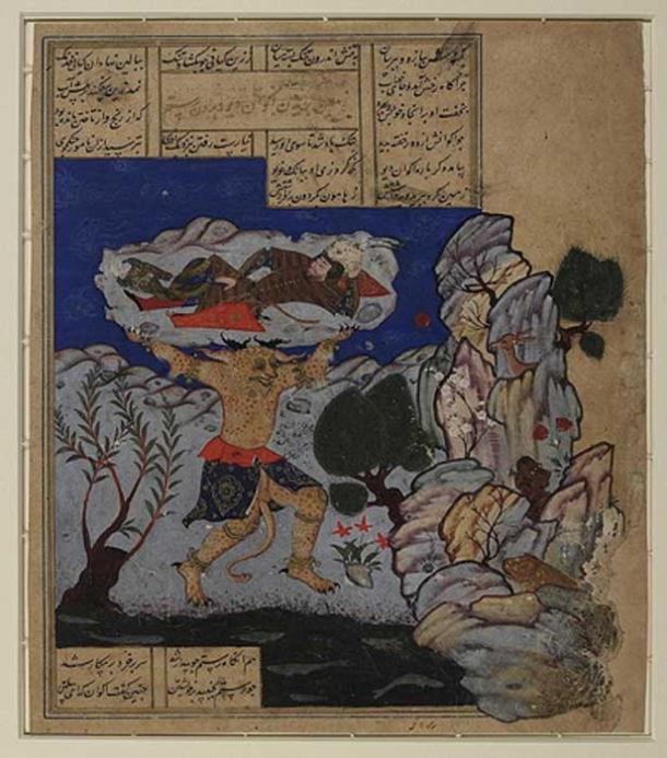 Demon Div Akvan throws Rustam into the Caspian Sea. (Public Domain)