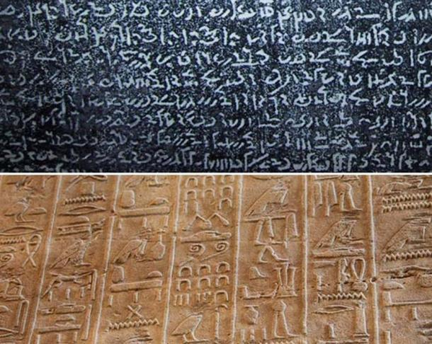Top: Demotic script found on the Rosetta Stone Bottom: Egyptian Hieroglyphs