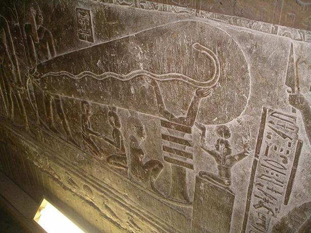The so-called 'Dendera light' in one of the crypts of Hathor temple at the Dendera Temple complex in Egypt.