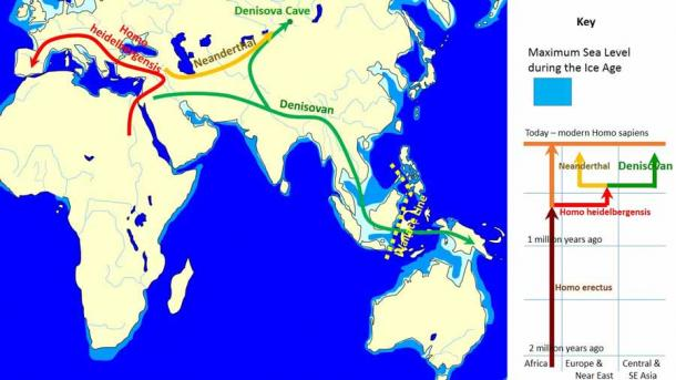 The spread and evolution of Denisovans from Africa to Indonesia and then somehow, according to the latest research, on to the Pacific Islands. (John D. Croft at English Wikipedia / CC BY-SA 3.0)