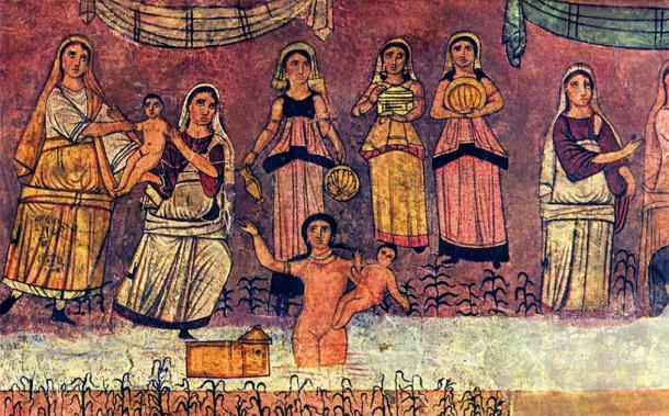 Depiction of Moses being found by the river, from a fresco at the Dura Europos synagogue. The story is part of the Shemot, or the Book of Exodus. (Public domain)