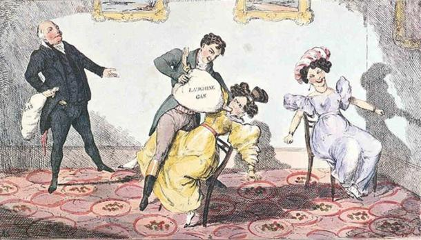 Depiction of Davy's laughing gas parties and exhibitions in the 19th century. (Almapater44 / Public Domain)