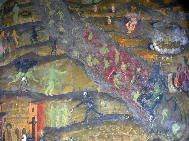 Depiction of Hell in an 18th-century Romanian Orthodox mural.