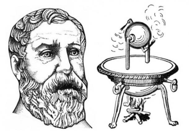 Depiction of Heron (Hero) of Alexandria (Public Domain) and his aeolipile, a simple bladeless radial steam turbine.