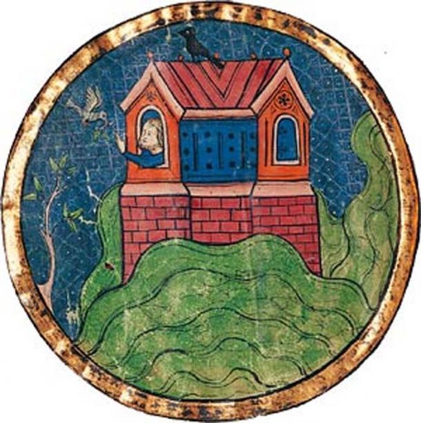 Depiction of Noah's ark landing on the mountains of Ararat.