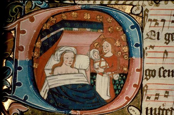 Depiction of St Anne with a baby and her midwife, by Ranworth Antiphoner, fifteenth Century.