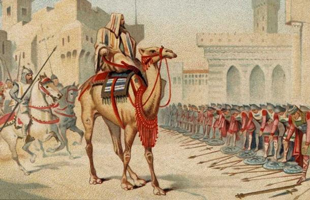 Depiction of Umar's entry into Jerusalem from a 1905 French series entitled Great Conquerors.