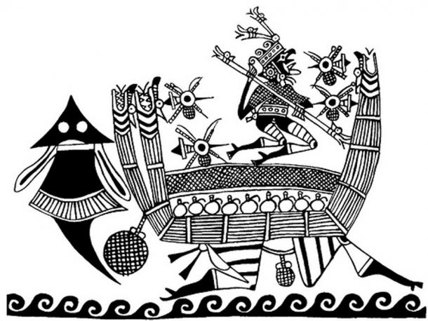 Depiction of a Moche reed boat.