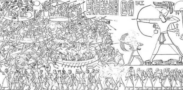Depiction of a battle with the Sea Peoples found on the northeast wall of the mortuary temple Ramses III in Medinet Habu, Egypt, 1200–1150 bce (Public domain)