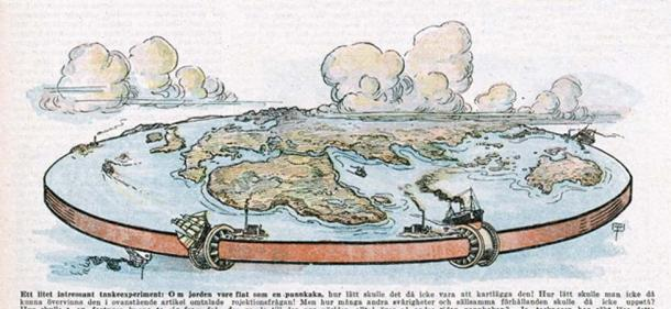 Depiction of a flat planet Earth 1922. (Archivist / Adobe.)