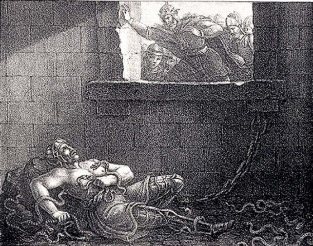 Depiction of Ælla of Northumbria's murder on Ragnar Lodbrok (1830) by Hugo Hamilton.