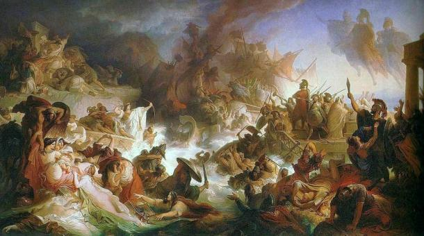 Depiction of the Battle of Salamis between the Greeks and Persians where Cimon became a military hero