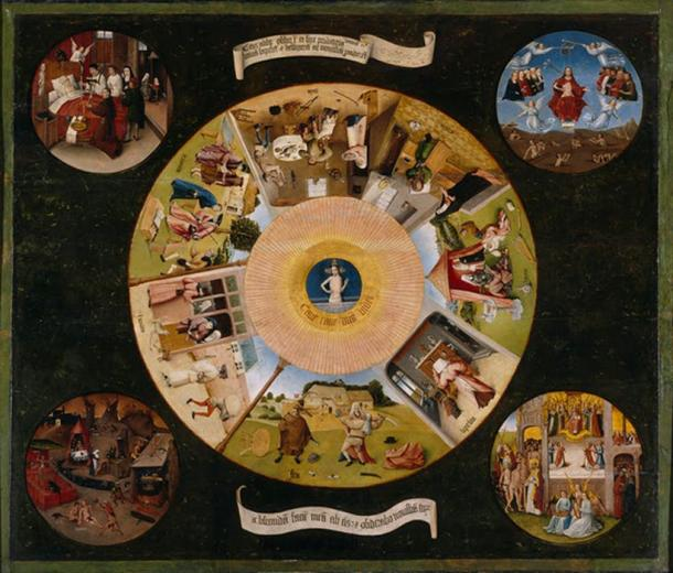 Depiction of the seven deadly sins and the four last things of man (death, judgment, heaven and hell). Hieronymus Bosch or follower. (Public Domain)
