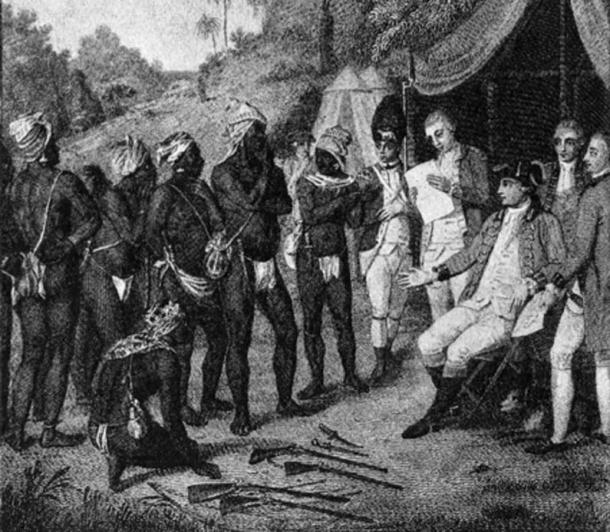 Depiction of treaty negotiations between Black Caribs and British authorities on the Caribbean island of Saint Vincent, 1773. (Public Domain)