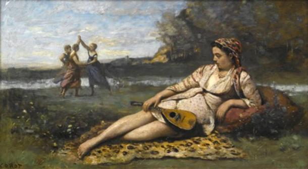Depiction of Spartan women freely playing outside with the woman in the foreground holding an instrument showing her interest in music and arts. This may have been a different story for their Greek counterparts. (Jean-Baptiste Camille Corot / Public domain)