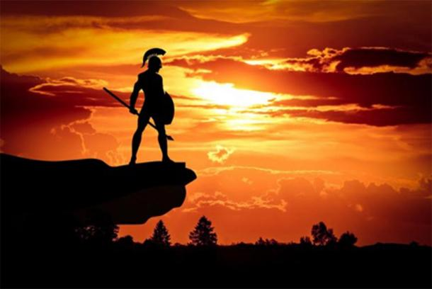 Depiction of a Spartan warrior before battle in the sunset. (Mohamed Hassan / Public domain)