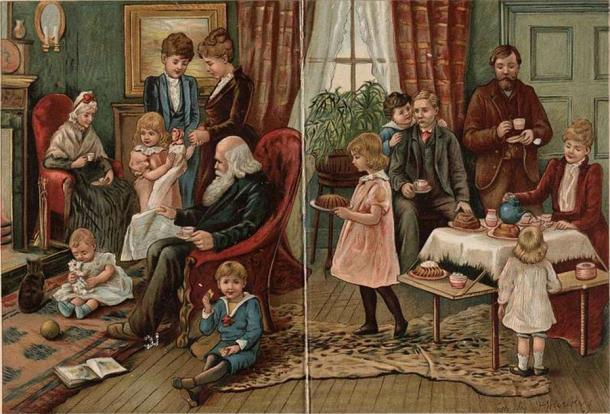 Depiction of a Victorian family at home. (Public domain)