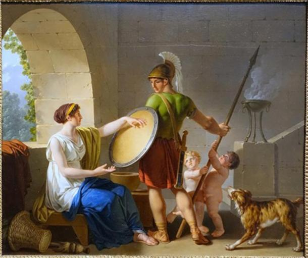Depiction of Spartan woman giving a shield to one of her sons before he goes to war, while looking after her other children. (Daderot / Public domain)