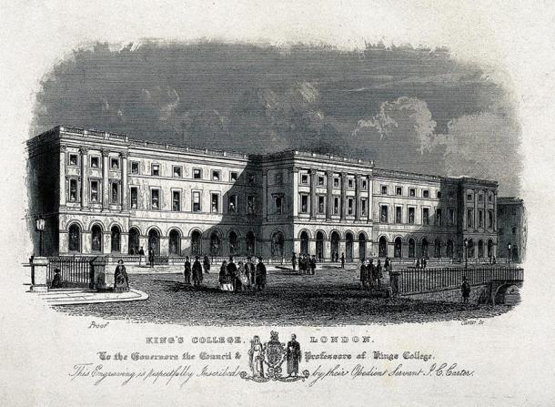 Depiction of King's College London (one of the founding institutions of University of London) during the Victorian era, engraved during the 19th century. (J.C Carter / CC BY 4.0)