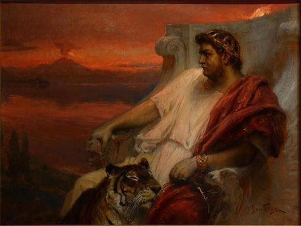 A depiction of Emperor Nero with a tiger and Rome burning in the background during the Great Fire. (Public Domain)