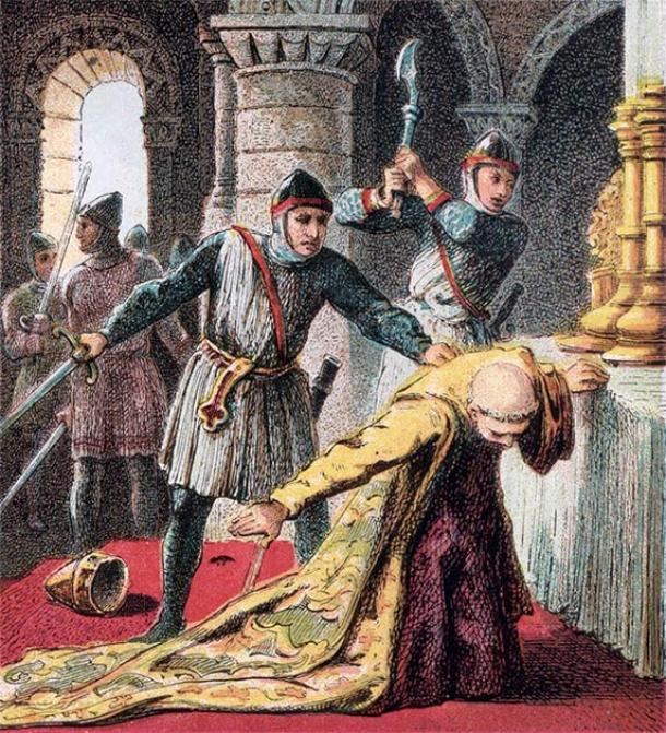 Depiction of the murder of Thomas Becket by the king's knights. (Joseph Martin Kronheim / Public domain)