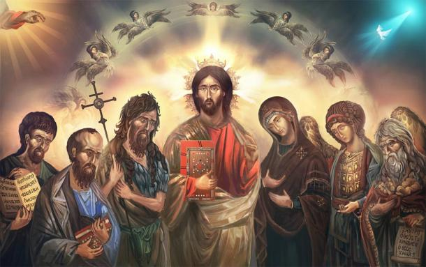 Depiction of Jesus Christ surrounded by his saints and disciples. (vukkostic / Adobe stock)