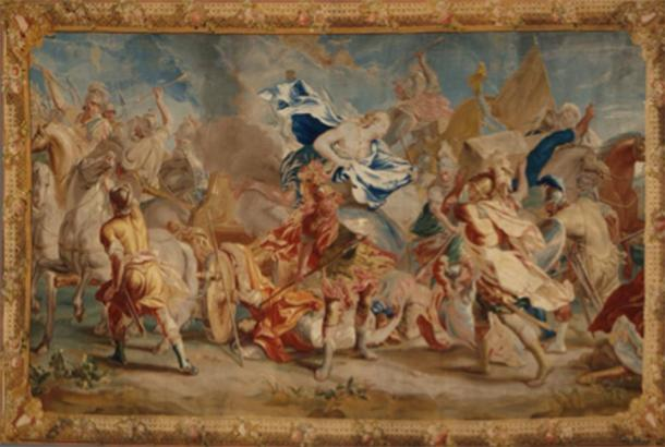 Depiction of a battle during the Trojan War, including horses and chariots, where Menelaus fought Paris. (Los Angeles County Museum of Art / Public domain)