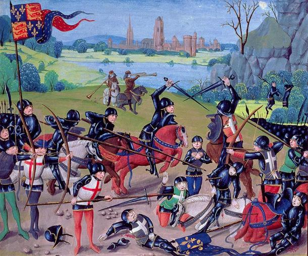 Depiction of the Battle of Agincourt during the One Hundred Years' War, where the medieval longbow is believed to have been very effective in helping the English Henry V win the battle. (Public domain)