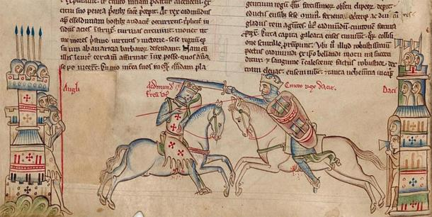 Depiction of Cnut battling Edmund Ironside at the Battle of Assandun, with King Cnut on the right. 14th Century manuscript - Matthew Paris, Chronica Majora, Cambridge, Corpus Christi College. (Public Domain)