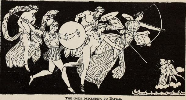 Depiction of Homer's Story of Iliad and the gods descending into battle. (Internet Archive Book Images / Public domain)