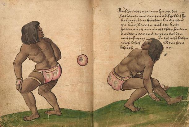 Depiction of players hitting a rubber ball with their hips in a version of Mesoamerica's famous ballgame. (Christoph Weiditz / Public domain)