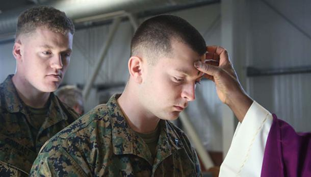 Deployed US Marines, soldiers observe Ash Wednesday. (Public Domain)