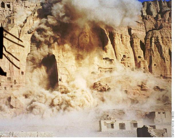 Destruction of a Bamiyan Buddha by the Taliban.