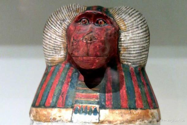 Detail from one of the pseudo canopic jars of Padiouf, a priest of Amun, shows the face of Hapy. Third Intermediate Period. Musée du Louvre Paris. Exhibition 'Animals and Pharaohs', CaixaForum Barcelona.