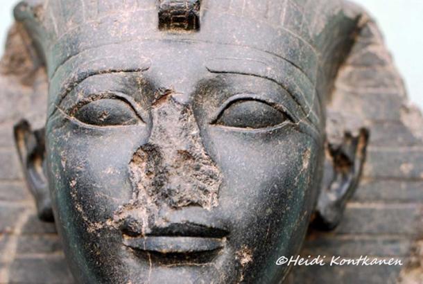 Detail from the head of a Diorite statue of the powerful Eighteenth Dynasty warrior pharaoh, Amenhotep II. Ny Carlsberg Glyptotek, Copenhagen.
