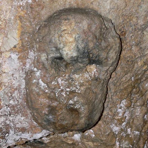 Detail of 'mask' in the Celtic Hypogeum at Cividale del Friuli