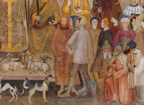 Detail of Andrea di Bonaiuto's fresco 'The Way of Salvation/The Church Militant and the Church Triumphant', c. 1365–1368. The figures at the center are identified by Jacques Paviot as an English knight of the Garter talking to a Mongol. (Public Domain)