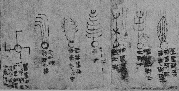 Detail of Astrology Manuscript, ink on silk, 2nd century BC, Han, unearthed from Mawangdui tomb 3rd, Chansha, Hunan Province, China. Hunan Province Museum. (Public Domain) The page gives descriptions and illustrations of seven comets, from a total of 29 found in the document.